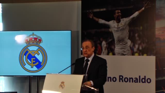 real madrid pays a tribute in honour to portuguese forward cristiano ronaldo after he became the team's all-time record goalscorer with 324 goals at... - 光栄点の映像素材/bロール