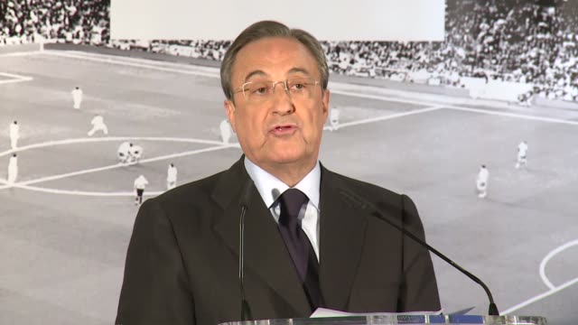 real madrid president florentino perez announces decision to part ways with jose mourinho at the end of the season he also announces decision to run... - ジョゼ・モウリーニョ点の映像素材/bロール