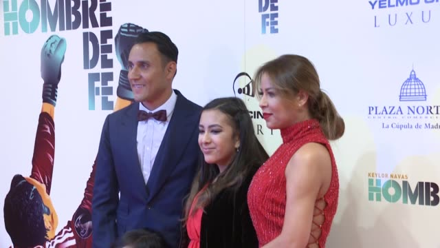 Real Madrid soccer player Keylor Navas wife Andrea Salas and family attend the 'Hombre de Fe' premiere at Luxury cinema
