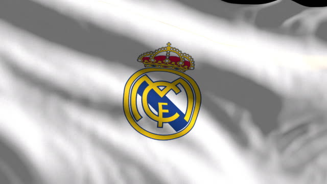 real madrid spanish soccer team flag waving. computer generated animation for editorial use. seamlessly looped and close up. - loopable moving image stock videos & royalty-free footage