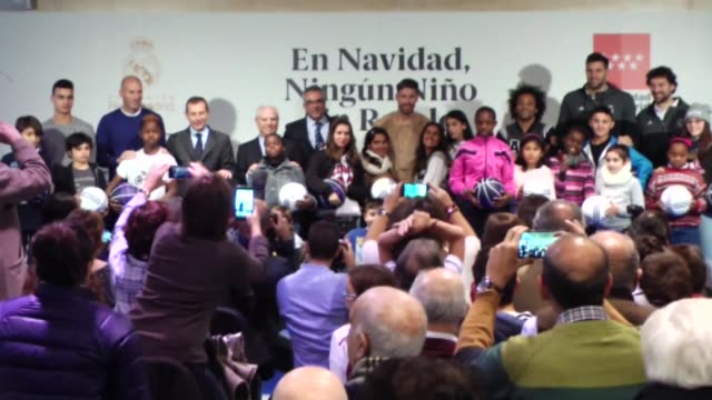 Real Madrid's Director of Institutional Relations Emilio Butragueno Counselor of Social Policies and Family at the Community of Madrid Carlos...
