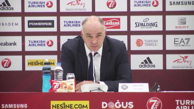 Real Madrid's head coah Pablo Laso speaks during a press conference following the Turkish Airlines Euroleague Final Four third place game between...