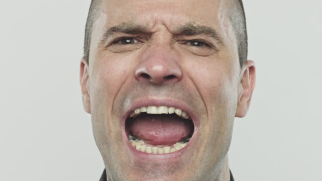 real man furious shouting against gray background - mouth open stock videos and b-roll footage