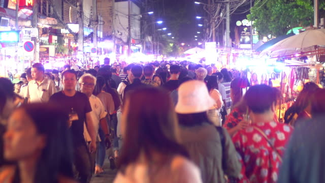 real people crowded travel and shopping in night market walking street - bangkok stock videos & royalty-free footage