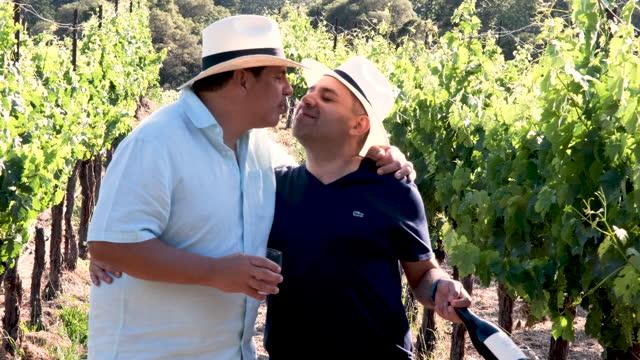 stockvideo's en b-roll-footage met real people - mature gay couple visiting the vineyards walking holding hands and kissing - hoofddeksel