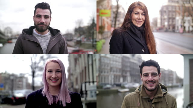 4k slow-motion: real people smiling video portraits - montaggio in sequenza video stock e b–roll