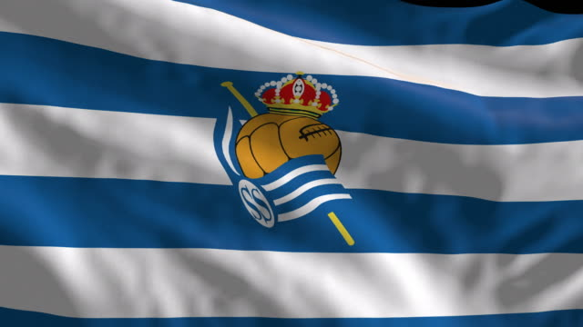 real sociedad spanish soccer team flag waving. computer generated animation for editorial use. seamlessly looped and close up. - loopable moving image stock videos & royalty-free footage