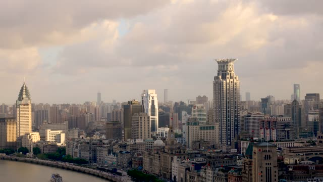 real time 4k: aerial view of shanghai skyline - east china stock videos & royalty-free footage