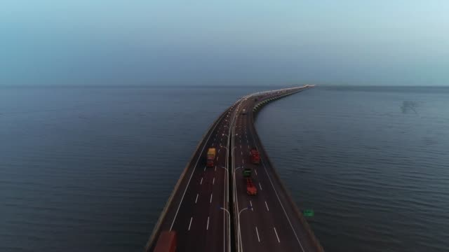 Real Time Aerial view of cars on donghai bridge