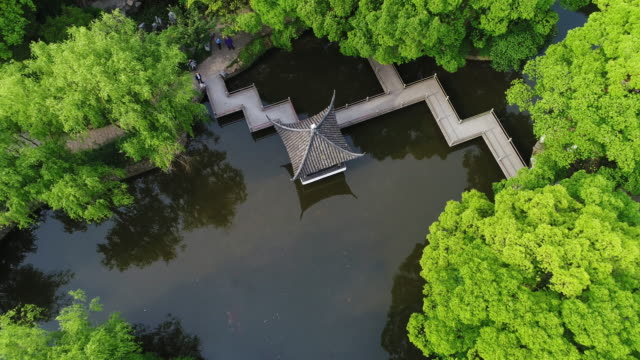 Real time aerial view of Chinese garden