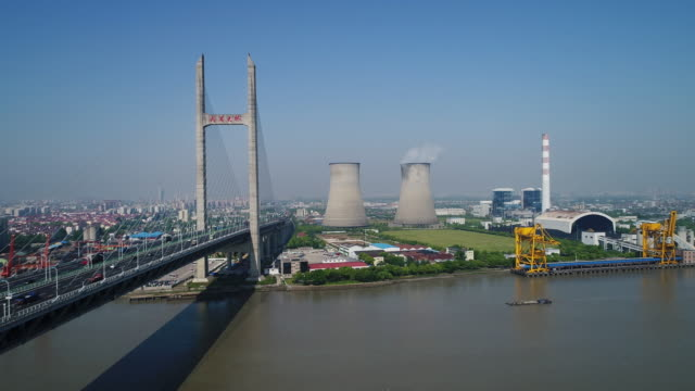 Real Time Aerial view of Coal-fired power station,shanghai,china