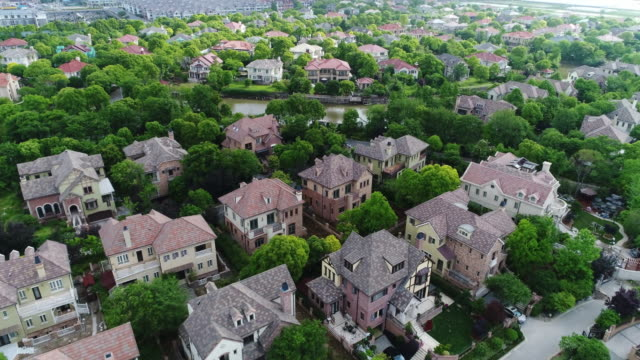 Real time Aerial view of detached duplex houses