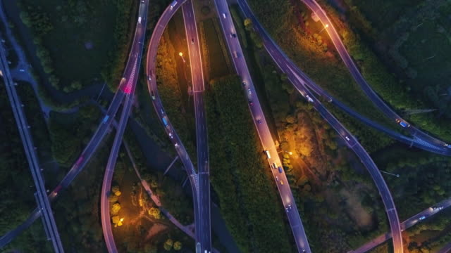 Real Time Aerial view of Shanghai Highway at night