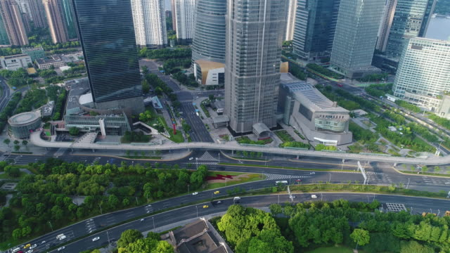 Real time Aerial view of Shanghai Lujiazui Financial District