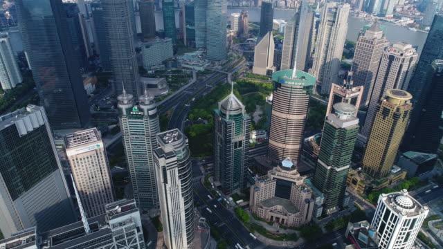 Realtid Flygfoto över Shanghai Lujiazui Financial District