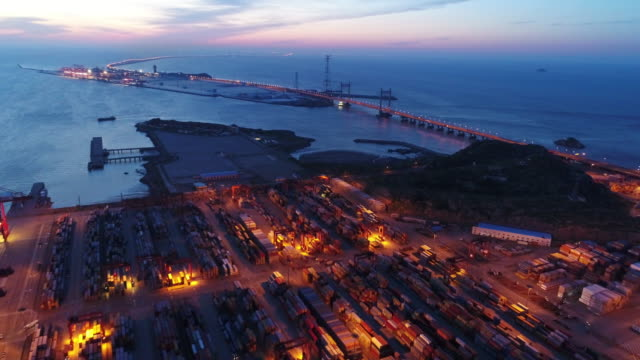 real time aerial view of shanghai yangshan deepwater port - bay of water stock videos & royalty-free footage