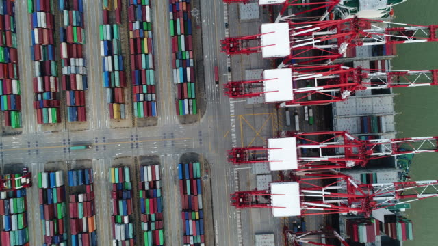 Real Time Aerial view of Shanghai Yangshan deepwater port