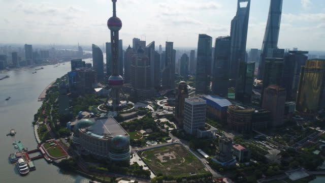 Real time Aerial view Shanghai Skyline