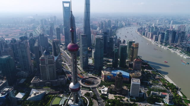 real time aerial view shanghai skyline - the bund stock videos & royalty-free footage