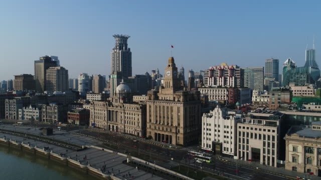 real time aerial view shanghai skyline - 30 seconds or greater stock videos & royalty-free footage