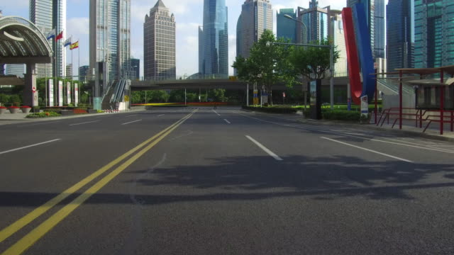 Real time Car driving in lujiazui financial district, Shanghai, China