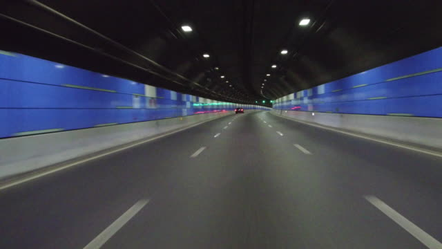 Real time Car driving in the bund tunnel,Shanghai,China