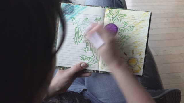 real time clip of a young woman colouring in a heart