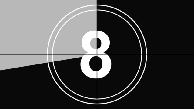 4K. real time countdown leader graphic counting from 10 to 0 with numerals reverse, vintage style in monochrome color