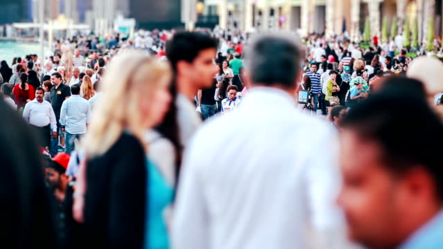 real time crowd people walking - dubai stock videos & royalty-free footage