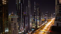 Real Time Dubai city street or road full of cars and metro