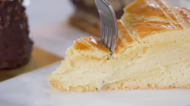 4k real time eating custard pie. - cream cake stock videos & royalty-free footage