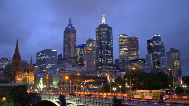 Real time night video of centre in Melbourne
