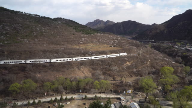 Real time of the train passing through Juyongguan Great Wall, Beijing, China