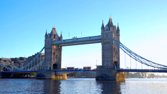 real time of tower bridge in the morning, london, uk - london bridge england stock videos & royalty-free footage