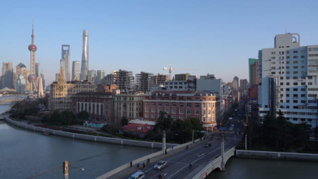 Real Time Shanghai Skyline at sunset