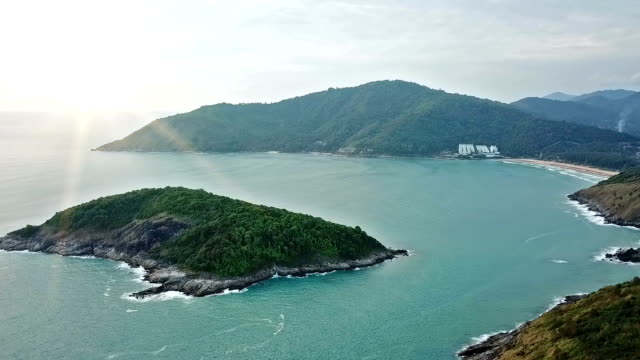 real time shot of sea surf. aerial top down view at cape panwa ,phuket - breaking wave stock videos & royalty-free footage