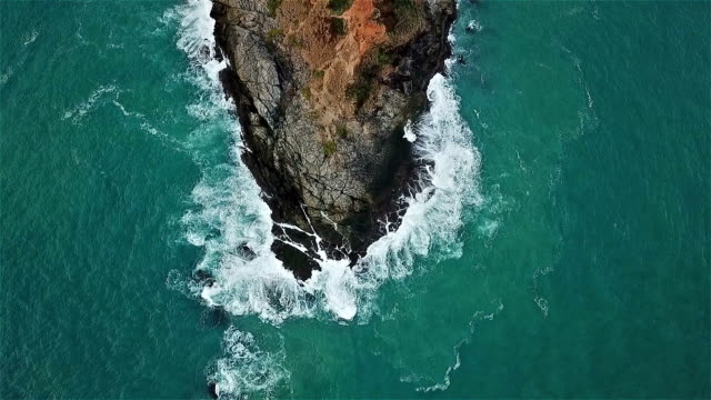 real time shot of sea surf. aerial top down view at cape panwa ,phuket - top stock videos and b-roll footage