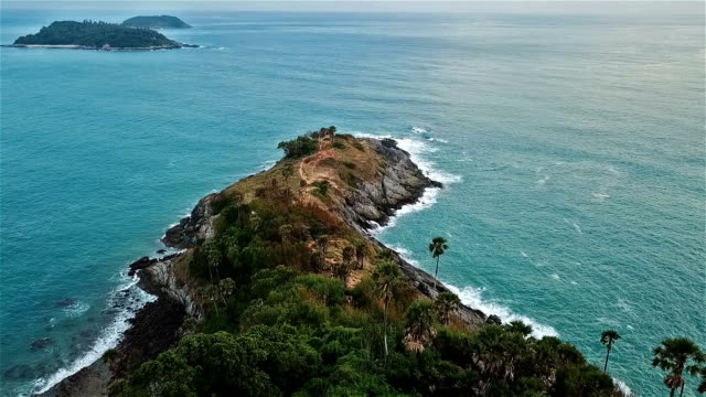 Real time shot of sea surf. Aerial top down view at cape Panwa ,Phuket
