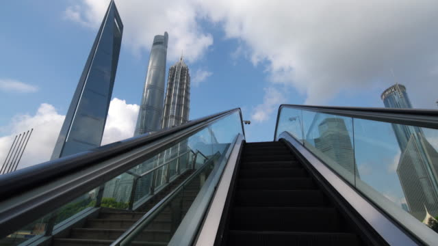 Real time The escalator in the Lujiazui CBD