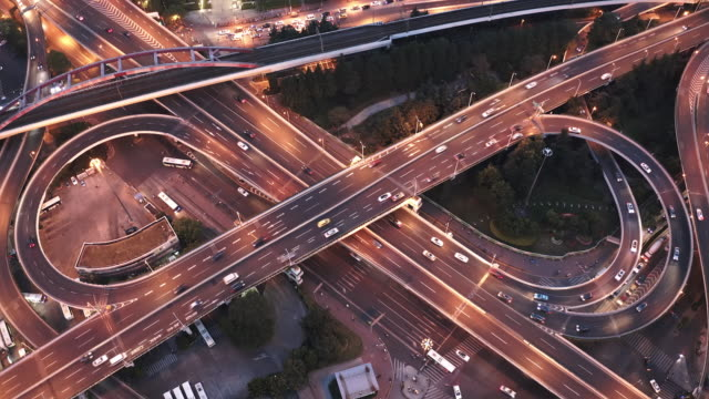 real time vedio of highway junction aerial view - infinity stock videos & royalty-free footage