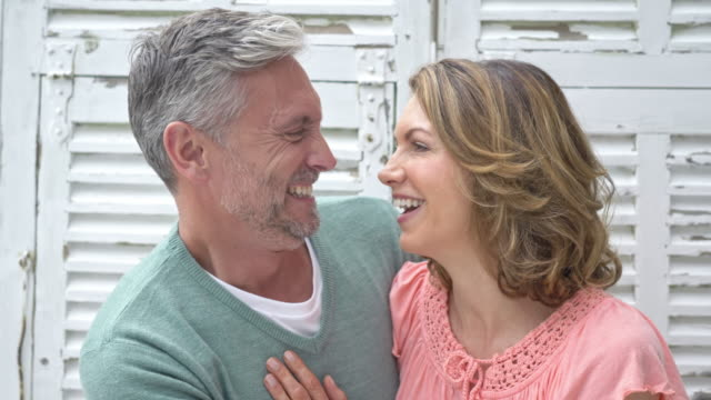 real time video of a happy mature caucasian couple at home - white hair stock videos and b-roll footage