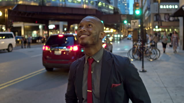 Real time video of a proud businessman in downtown Chicago