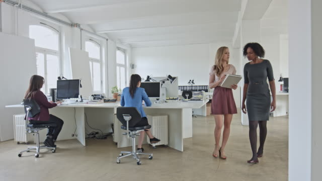 Real time video of businesswomen discussing while walking in office