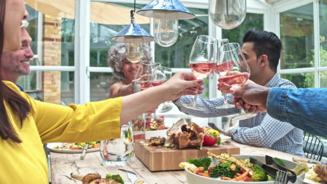 Real time video of friends toasting with wine while having lunch at home