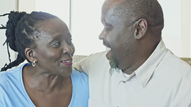 real time video of happy senior african couple at home - love emotion stock videos & royalty-free footage