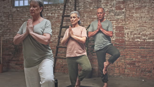 Real time video of Seniors Exercising in Yoga Class