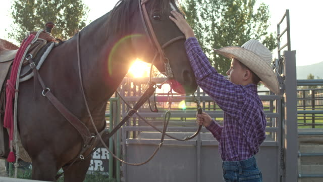 real time video of young cowboy standing and talking soothingly to his horse as he pets its head - saddle stock videos & royalty-free footage