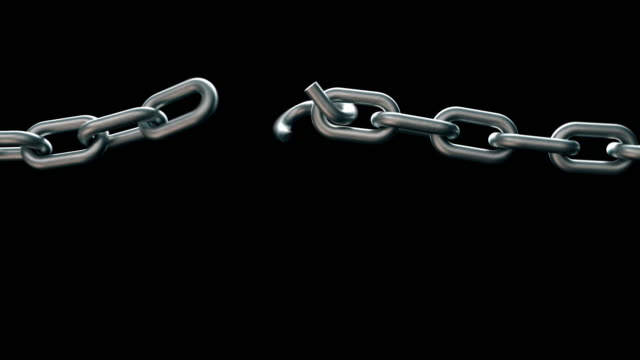 realistic broken chain animation with alpha channel or matte - breaking stock videos & royalty-free footage