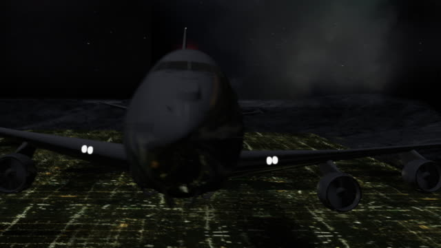 realistic cg passenger  airplane departing at night over a city, camera view tracking plane - air to air shot stock videos & royalty-free footage