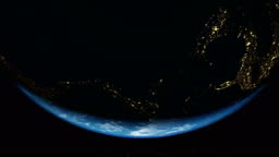 Realistic Earth City lights from the Space and Sunrise